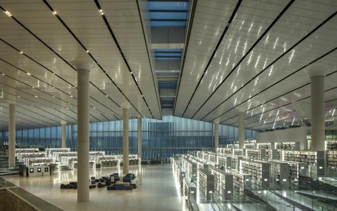 L'intérieur de la bibliothèque imaginée par l'architecte néerlandais Rem Koolhaas à Doha.