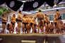 Séance d'entraînement avant le tournoi annuel de Sumo du templeYasukuni de Tokyo, le 16 avril.
