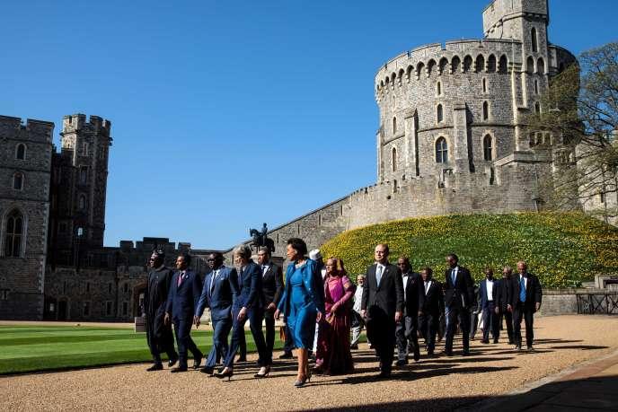 Réunion des chefs de gouvernement du Commonwealth autour de Theresa May à Windsor, à l'ouest de Londres, le 20 avril 2018.