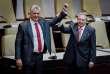 Miguel Diaz-Canel et Raul Castro, le 19 avril à l'Assemblée nationale, à La Havane.