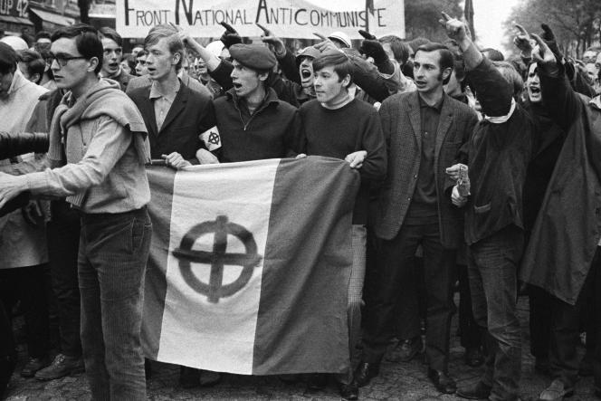 Manifestation du mouvement d'extrême droite Occident, à Paris, le 21 mai 1968.