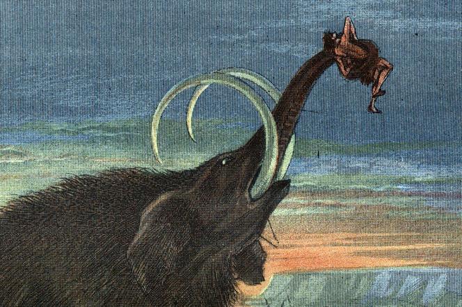 Scène de chasse au mammouth. Gravure de 1892.