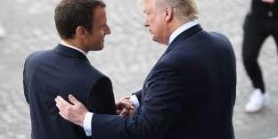 Emmanuel Macron et Donald Trump, lors de la venue du président américain en France pour le 14-Juillet 2017.
