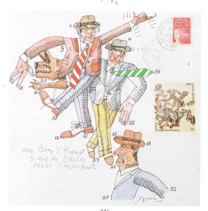 Antonio Segui, aquarelle et encre sur enveloppe signée et adressée, 688 euros.