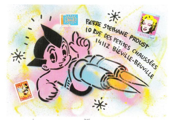 «Astroboy», pochoir et aérographe sur enveloppe adressée, format 32×23 cm, invendue.
