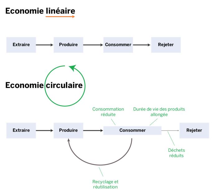 La différence entre l'économie linéaire et l'économie circulaire.