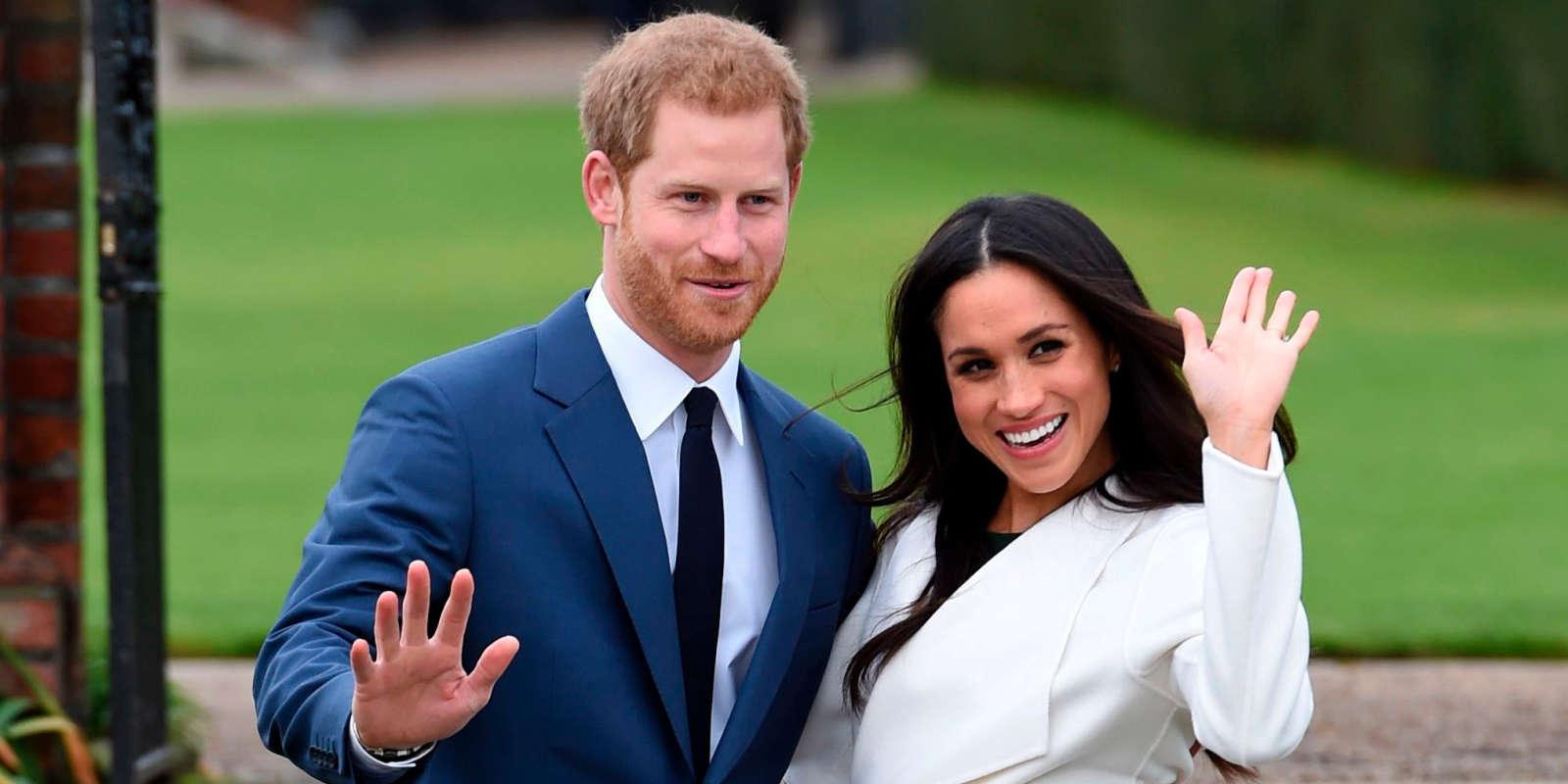 Le prince Harry et Meghan Markle lors de leurs fiançailles, le 27 novembre 2017, au palais de Kensington, à Londres.