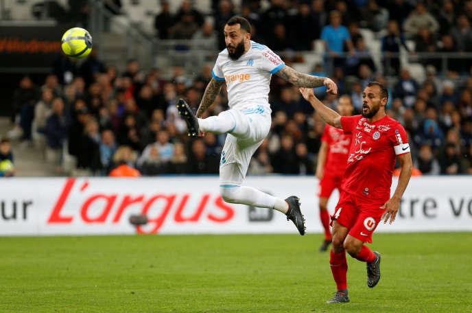 L'attaquant grec Konstantinos Mitroglou face à Montpellier le 8 avril au stade Vélodrome de Marseille.REUTERS/Philippe Laurenson