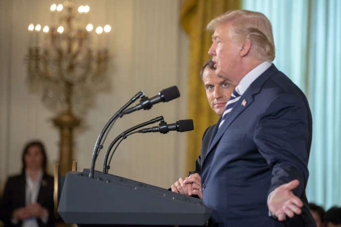 Emmanuel Macron et Donald Trump lors de leur conférence de presse commune, à la Maison Blanche, à Washington, le 24 avril.