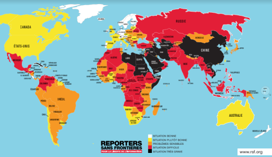 Le classement mondial de la liberté de la presse 2018 de Reporter sans Frontières.