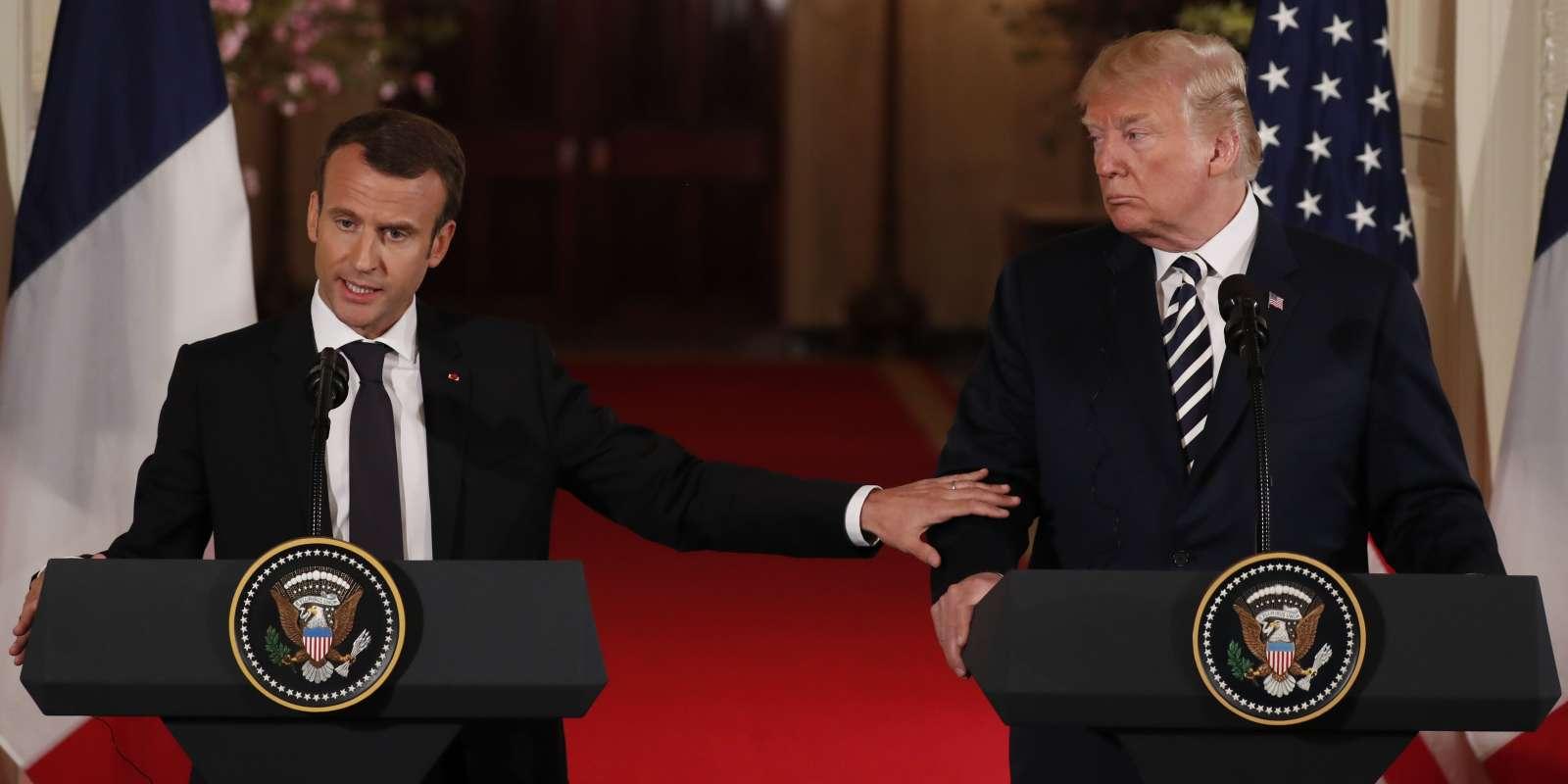 Emmanuel Macron et Donald Trump, à Washington le 24 avril.