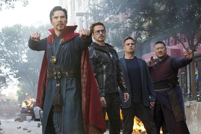 Benedict Cumberbatch, Robert Downey Jr., Mark Ruffalo etBenedict Wong dans«Avengers: Infinity War»,d'Anthony et Joe Russo.