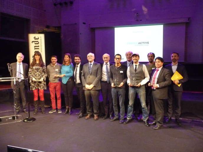 Les lauréats de la 8e édition des Grands Prix de la Finance solidaire en 2017.
