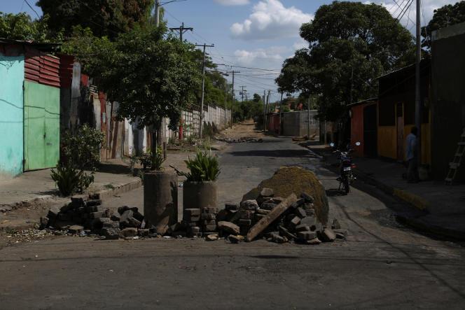 Une barricade à l'université deManagua, au Nicaragua, le 24 avril.