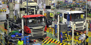 A l'usine Scania d'Angers, en 2013.