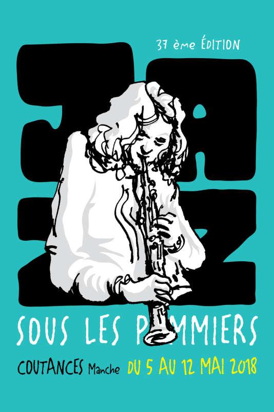 Affiche de la 37e édition du festival Jazz sous les pommiers, à Coutances.