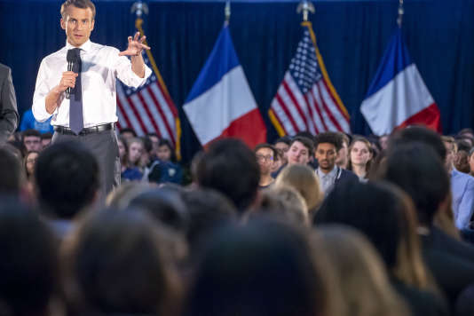 Emmanuel Macron, devant les étudiants de l'université de George Washington, à Washington D.C., le 25 avril.