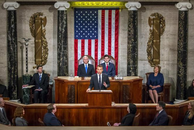 Emmanuel Macron, devant le Congrès des Etats-Unis au Capitole à Washington, le 25avril.