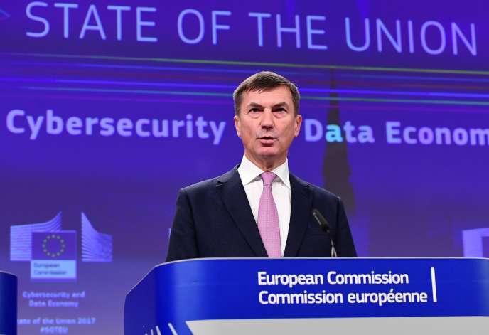 Andrus Ansip,vice-président de la Commission européenne chargé du marché unique du numérique, à Bruxelles, en septembre 2017.