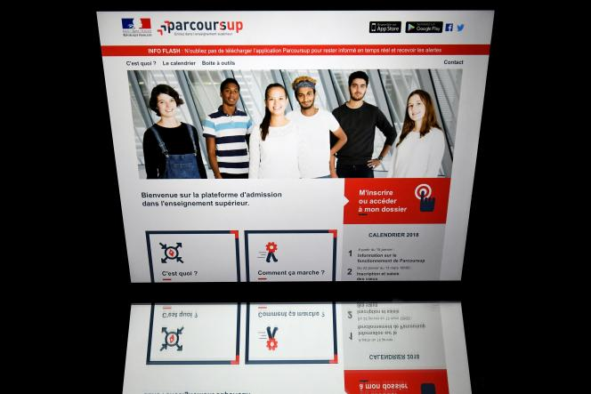 Page d'accueil du site Parcoursup, avril 2018.