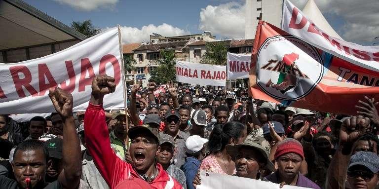 Manifestation anti-gouvernementale à Antananarivo, le 25avril 2018.