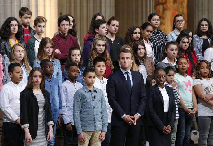 Emmanuel Macron au Panthéon, à Paris, le 27 avril.