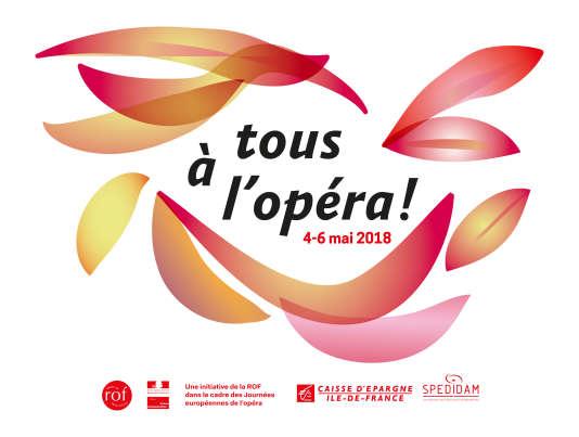 Affiche de Tous à l'opéra, série de manifestations en accès libre dans 25 maisons lyriques.