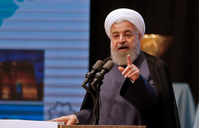 Le président iranien Hassan Rohani à Tabriz, dans la province du nord-ouest de l'Azerbaïdjan oriental, le 25 avril.