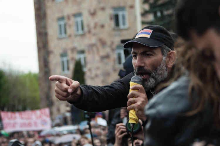 La manifestation de l'opposant Nikol Pachinian dans la ville de Vanadzor, la troisième plus grande ville d'Arménie après Erevan, la capitale, et Gyumri.