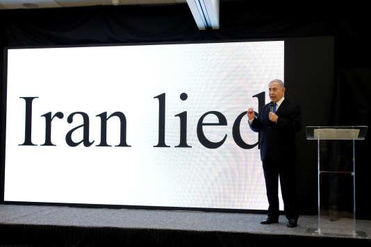 Le premier ministre israélienBenyamin Nétanyahou durant sa conférence de presse à Tel-Aviv.