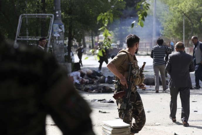 Après la seconde explosion, lors dudouble attentat-suicide qui a touché Kaboul, le 30 avril.