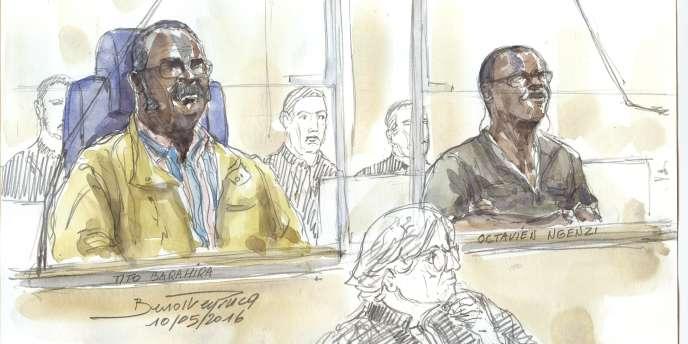 Tito Barahira (à gauche) et Octavien Ngenzi (à droite), dessinés lors de leur premier procès en assise, à Paris, en mai 2016.