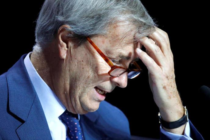 Vincent Bolloré, à Paris, lors de l'assemblée générale de Vivendi, le 19 avril.