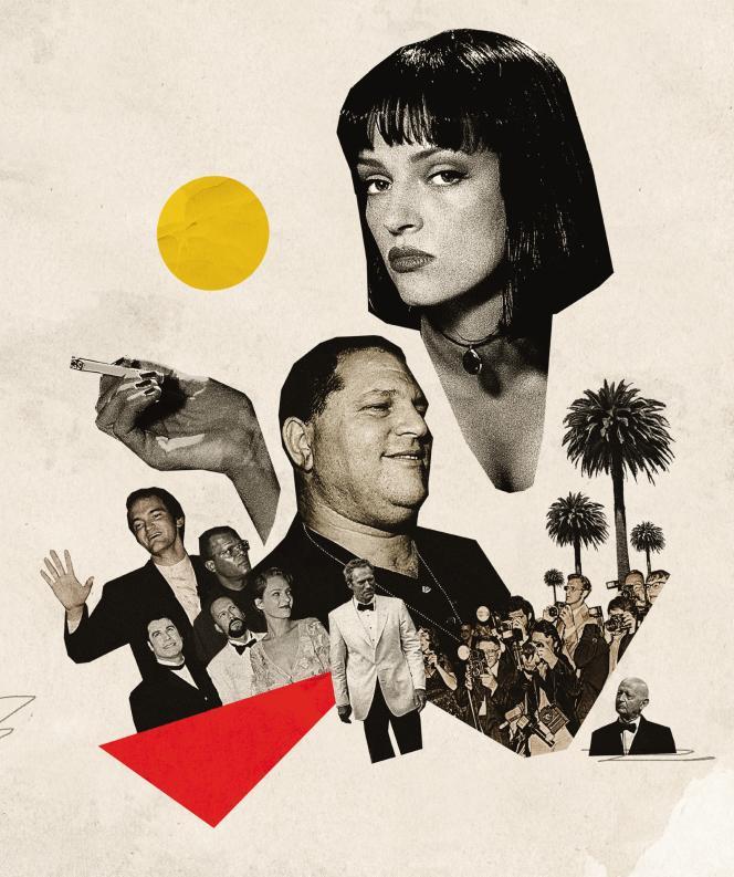 Harvey Weinstein, Uma Thurman, Quentin Tarantino et le cast de «Pulp Fiction», Palme d'Or 1994.