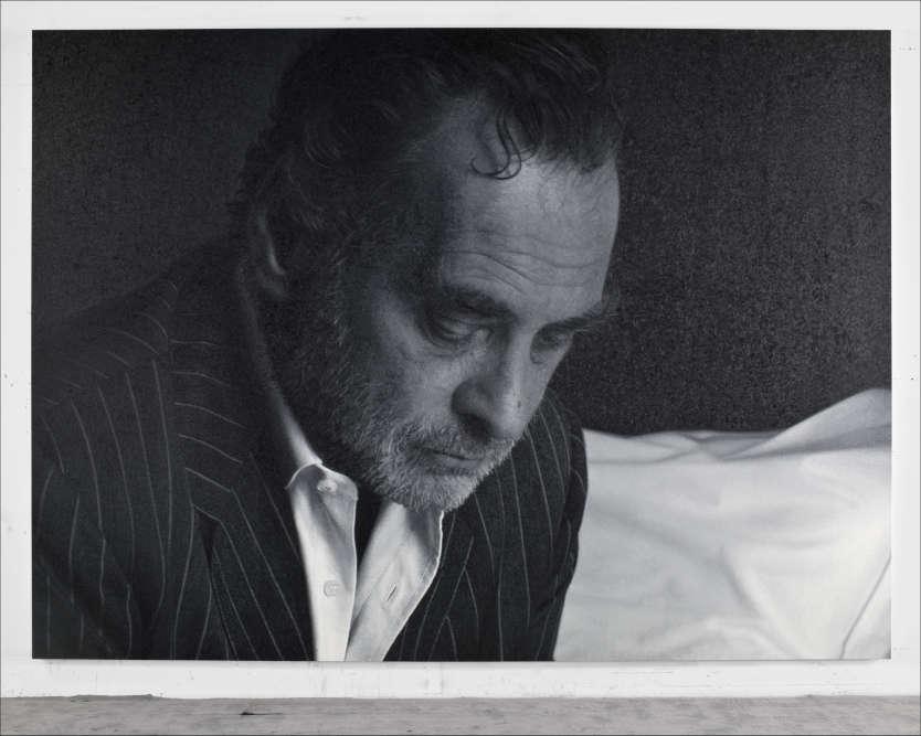 «Les tableaux réalisés par Stingel à partir de sa propre image partent d'une photo, prise par un photographe de renom (Sam Samore pour «After Sam»), un anonyme ou même un photomaton. Démesurément agrandie, l'image est ensuite reproduite en peinture, révélant, dès qu'on s'en approche, une matière picturale très présente ou se lit chaque touche du pinceau. »