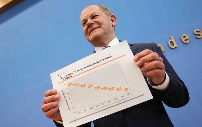 Olaf Scholz, le ministre allemand des finances lors de la présentation du budget, à Berlin, le 2 mai.