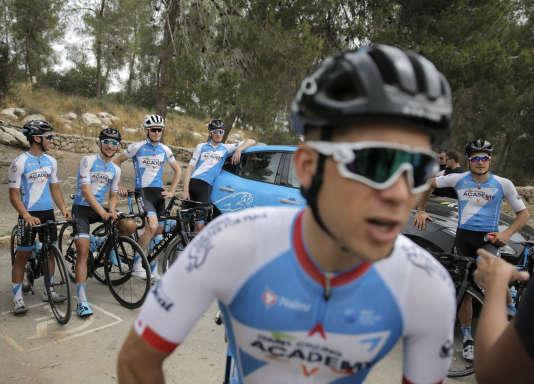 Les coureurs de l'équipe à l'entraînement, sur le site de Tel Azeka où, selon la Bible, le jeune David a vaincu le géant Goliath.
