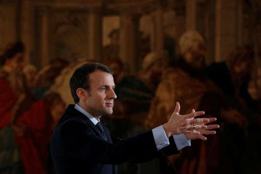 Emmanuel Macron, lors de son discours aux industriels français, à l'Elysée, le 26 mars.