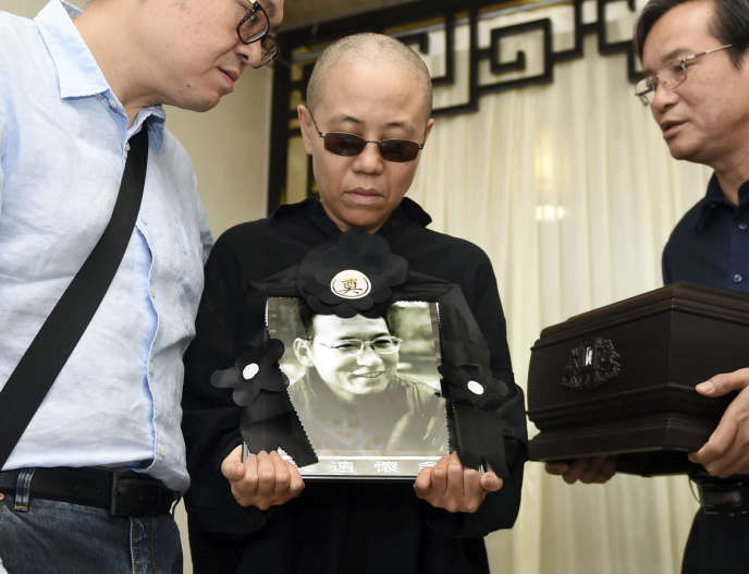 Liu Xia lors des funérailles de Liu Xiaobo, le 15 juillet 2017, à Shenyang.