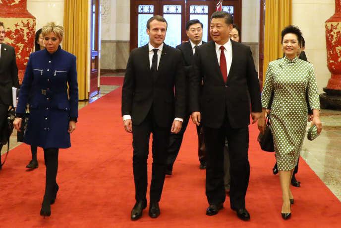 Emmanuel Macron et Xi Jinping, à Pékin, le 9 janvier 2018.