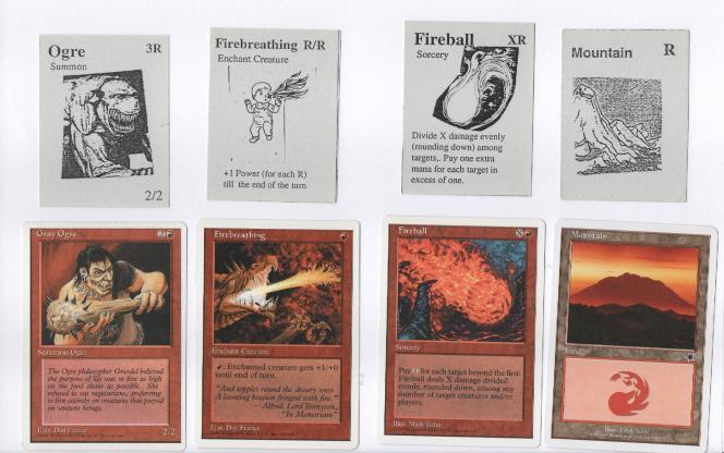 Comparaison entre les premiers concepts de cartes (en haut) et leur équivalent dans des versions commercialisées (en bas).