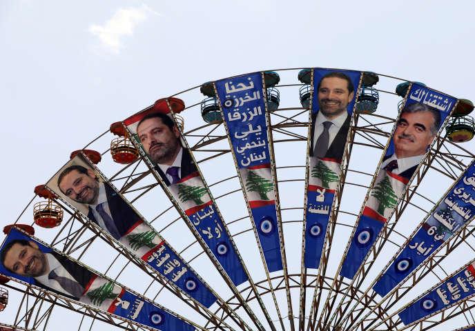 Affiches électorales pour Saad Hariri sur une grande roue à Beyrouth, le 3 mai.