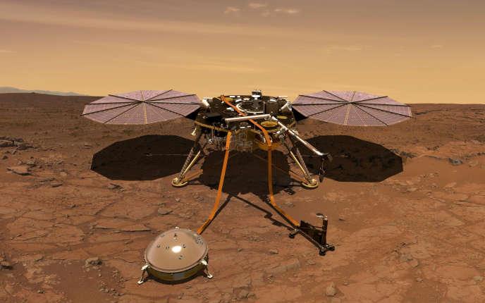 Vue d'artiste d'Insight. Au sol au premier plan, sous sa cloche protectrice, l'instrument SEIS, qui mesurera les vibrations du sol martien.
