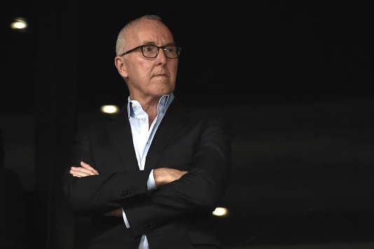 Le propriétaire de l'OM, l'AméricainFrank McCourt, en septembre 2016 au stade Vélodrome.