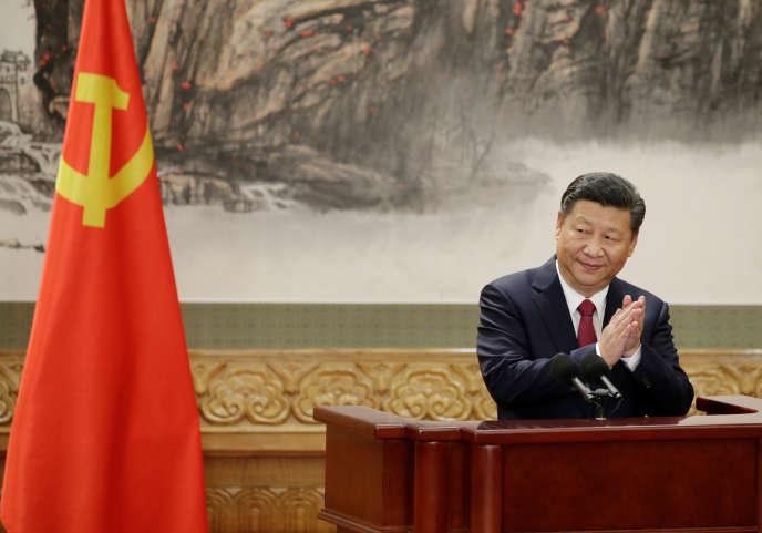 Le président chinois, Xi Jinping, lors d'une conférence de presse à Pékin, en octobre 2017.