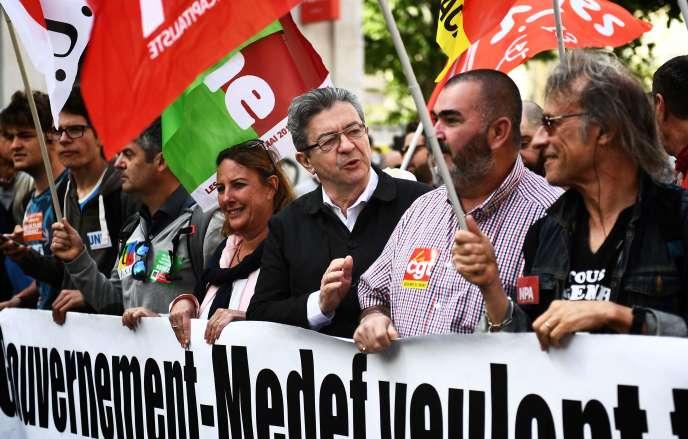 Jean-Luc Mélenchon lors de la manifestation du 1er mai à Marseille.