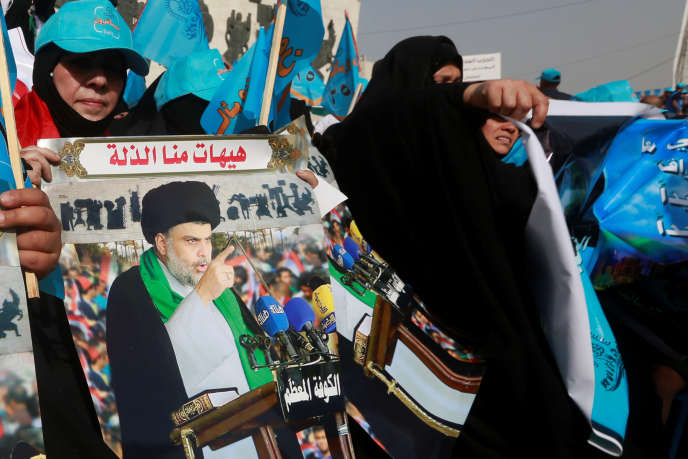 Des supporteurs deMoqtada Al-Sadr à Bagdad au début demai.