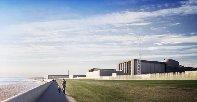 Présentation en images de synthèse des deux réacteurs EPR qu'EDF construit à Hinkley Point dans le sud-ouest de l'Angleterre, diffusée par EDF Energy à Londres, le 28 juillet 2016.