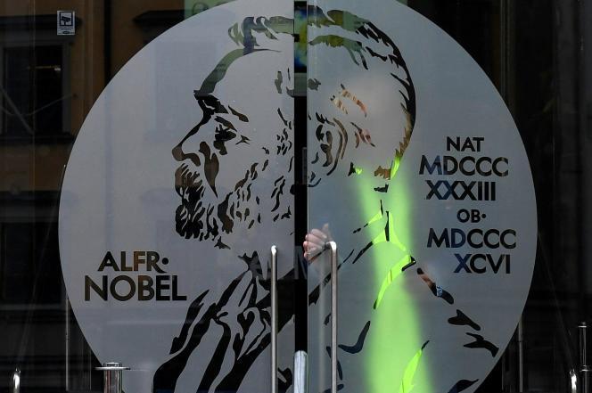 L'entrée du musée Nobel dans le bâtiment de l'académie suédoise,à Stockholm.
