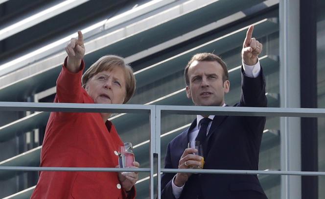 Emmanuel Macron et Angela Merkel, le 19 avril à Berlin.